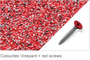 Colourdec Vineyard - free red screws.