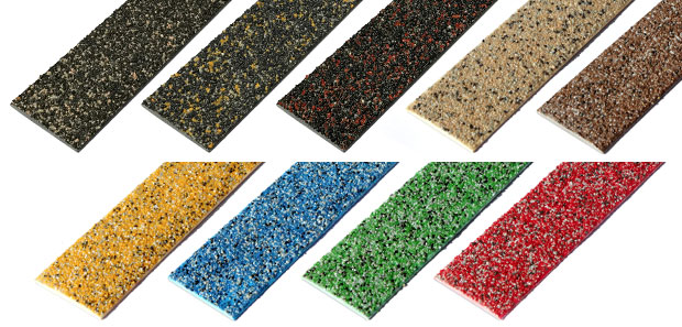 Colourdec anti slip decking strips, multi colour GRP strips.