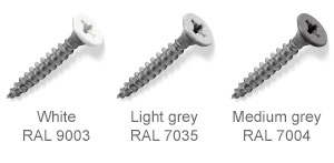 Coloured top countersunk screws - White, Light Grey, Medium Grey.