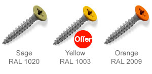 Coloured top countersunk screws - Sage, Yellow, Orange.