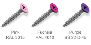 Coloured top countersunk screws - Pink, Fuchsia, Purple.