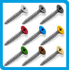 Coloured top countersunk screws.