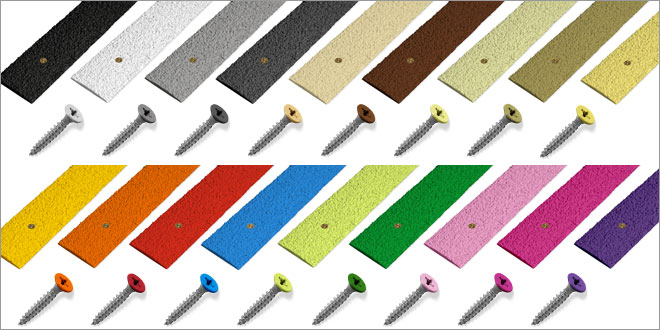 Anti slip decking strips range of colours with matching screws.