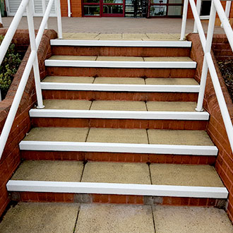 White Stair Nosings improve visibilty and safety.
