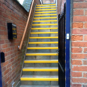 Yellow Stair Nosings safety installation.