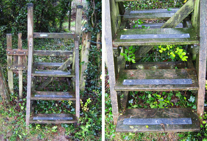 Anti-slip decking strips on slippery timber country stiles walkways pathways.