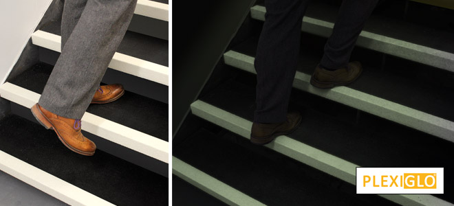 Glow in the dark, anti slip stair nosings, stair safety.