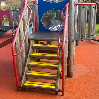 Schools, playgrounds and parks made safer with brightly coloured Anti-Slip Decking Strips.