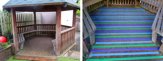 Before & after - the School slippery wooden areas made safe with fine grit, Anti Slip Decking Strips.