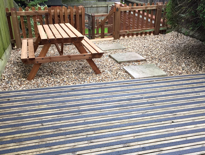 Decking areas or steps can be used immediately after installation.