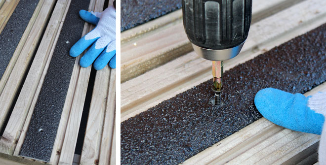Position decking strip and screw to your decking or step surface.