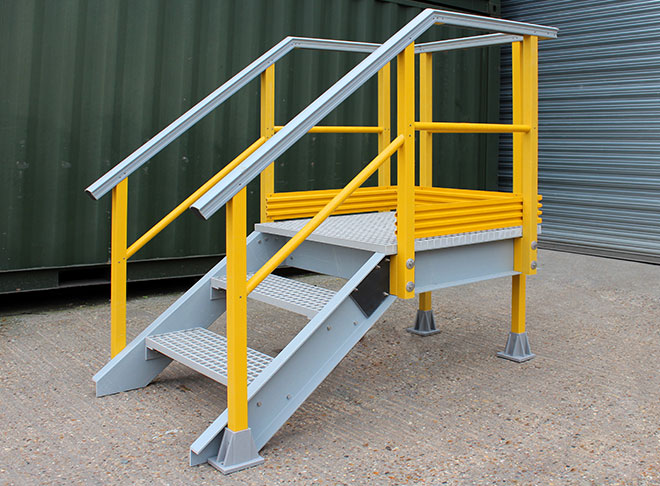 Custom made, GRP stair access platforms are designed for roof walkways, chemical bund access...