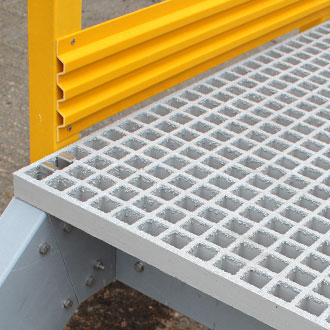 GRP platforms can be manufactured with grating stairs, landings, safety handrails and kick plates.