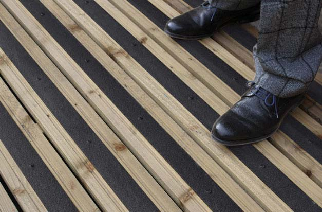 Improve patio and garden decking safety with anti-slip deck strips.
