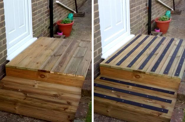 Before and after - anti-slip decking strips are quick and easy to install.