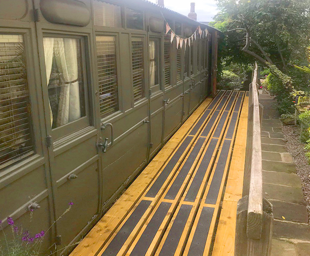 """Just received and installed some safety strips for the platform of our 1887 built 3rd class Railway Carriage which we use as B&B accommodation. It looks great."" L & R Craig."