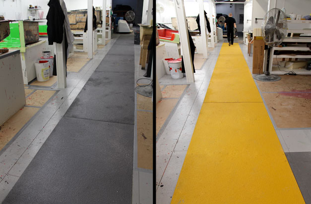 Manufacturing areas with anti slip floor covers for workplace safety.