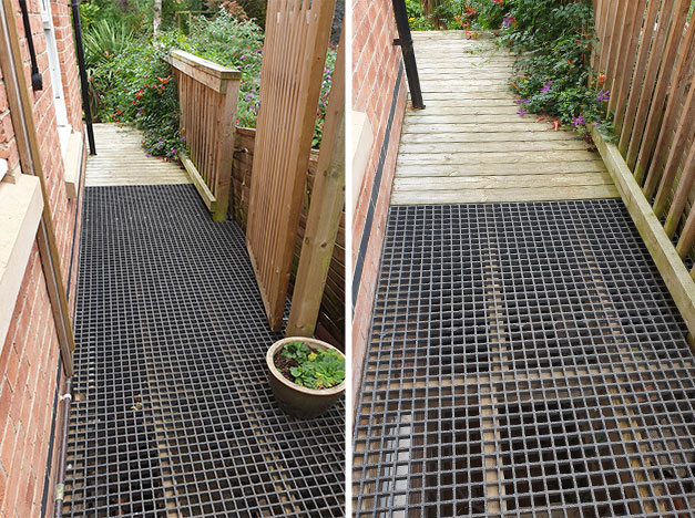 """I used the grating to replace existing wooden boards on a raised walkway to allow light to some windows that were below the deck. This has transformed the rooms since now have natural light"". R Worthington"