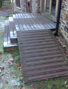 Non-slip decking strips on frosty steps.