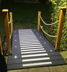 Non-slip decking strips glow in the dark.