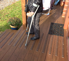 Non-slip decking strips help get a grip.