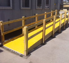 Non-slip floor sheets disabled access ramp.